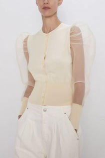 Beige Knit Cardigan With Organza Sleeves