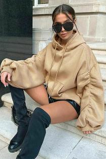 Beige Oversized Ruched Sleeve Hoodie