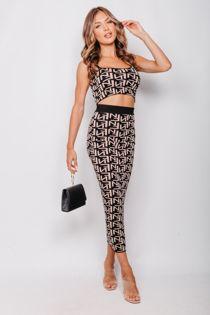 Beige Printed Crop Top And Midi Skirt Set