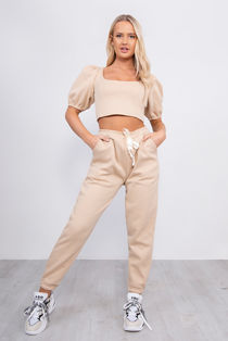 Beige Puff Sleeve Cropped Top And Jogger Lounge Set