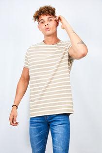 Beige Rolled Detail Striped Crew Neck T-Shirt