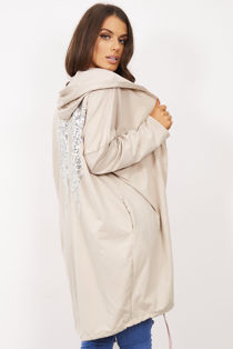 Beige Sequin Angel Wing Hooded Cardigan