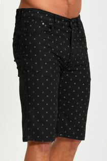 Black Anchor Print Chino Shorts
