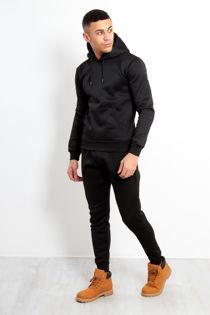 Black Block Hem Zipper Pullover Tracksuit