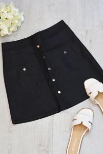 Black Button Front PU Mini Skirt