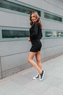 Black Cable Knit Jumper And Shorts Lounge Set