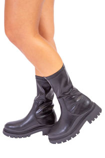 Black Calf High Chunky Hiker Boots