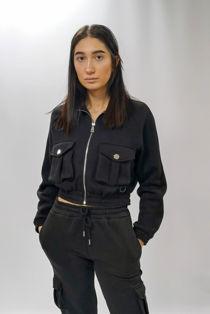 Black Cargo Pocket Cropped Sweatshirt