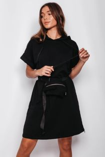 Black Celeb Sweat Dress with Belted Bag