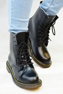 Black Chunky Lace Up PU Biker Boots Size 3