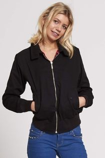 Black Classic Harrington Biker Jacket