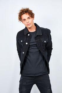 Black Contrast Borg Collar Cord Jacket