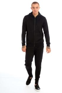 Black Contrast Piping Detail Zip Up Skinny Fit Tracksuit