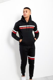 Black Contrast Stripe Pullover Tracksuit