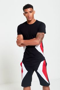 Black Contrast Triangle Panel T-Shirt and Short Set
