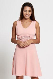 Black Crochet Middle Skater Dress