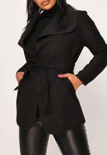 Black Cropped Waterfall Coat