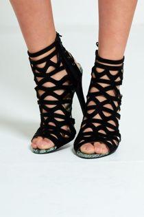 Black Cut Out Lace up Snake Skin Trim Heels