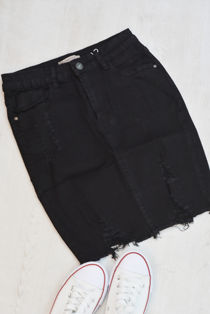 Black Distressed Hem Denim Skirt