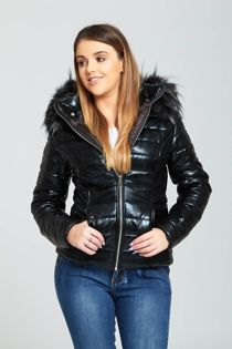 Black Faux Fur Detail Hooded Puffer Jacket