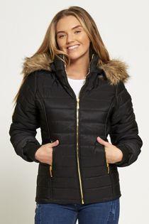 Black Faux Fur Lined Hood Puffa Coat