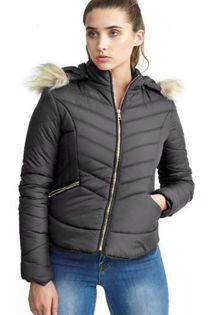 Black Faux Fur Trim Detail Hooded Puffer Jacket