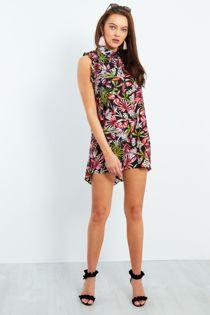 Black Floral Ruffle Sleeve Shirt Dress