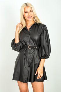 Black Flounce Leather Shirt Dress