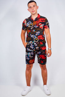 Black Flower Print Shirt and Swim Short Set