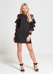 Black Frill Lace Mesh Sleeves Dress