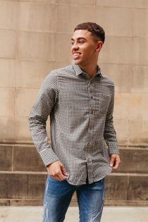 Gingham Long Sleeve Collar Shirt
