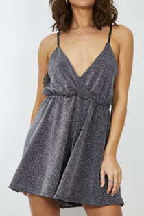 Black Glitter Deep Playsuit