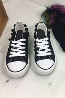 Black Glitter Pompom Canvas Lace Up Trainers