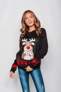 Black Glitter Reindeer Christmas Jumper