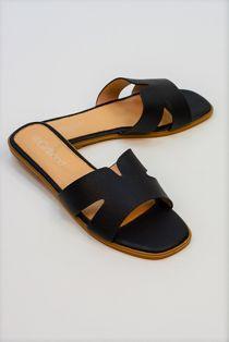 Black H Style Flat Slider Sandal