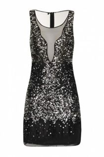 Black Handcrafted Sequin Fitted Mesh Dress