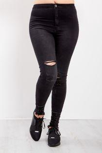 Black High Waist Knee Rip Raw Hem Skinny Jeans