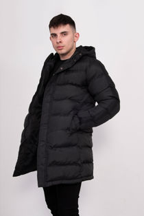 Black Hooded Longline Padded Coat