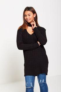 Black Knitted Choker Jumper