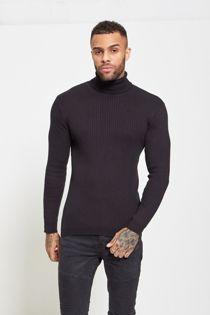Black Knitted Roll Neck Jumper