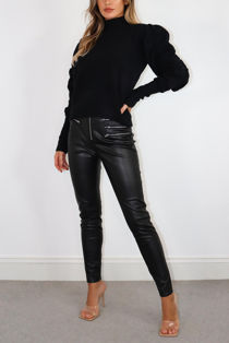 Black Knitted Woven Puff Sleeve Jumper