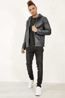 Black Leather Hooded Biker Jacket