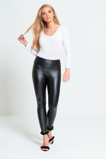 Black Leather Look High Waist Leggings