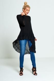 Black Lightweight Knit Fishtail Top