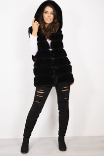 Black Long Line Faux Fur Gilet