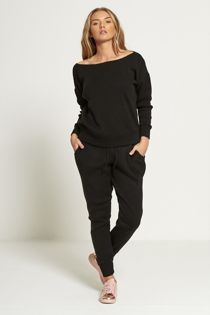 Black Lounge Wear Knitted Set
