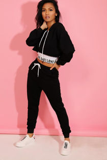 Black Love Top Crop Hoodie And Jogger 3 Piece Set