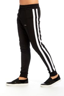 Black Man Logo Double Stripe Jogging Bottom