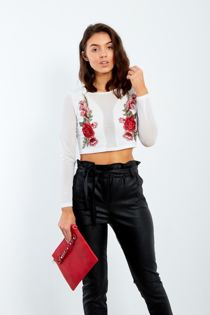Black Mesh Cropped Top With Floral Embroidery