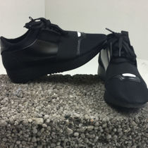 Black Mesh Two Tone Lace Up Trainers